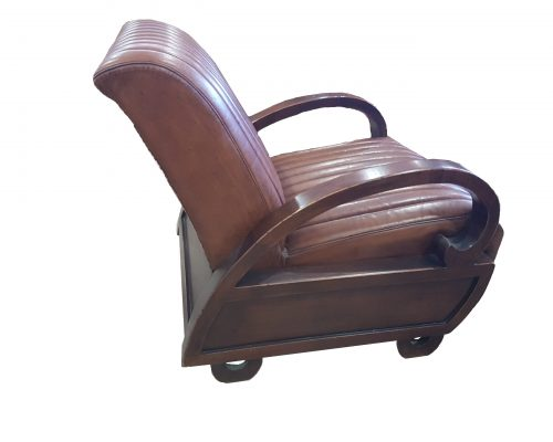 Art Deco Leather and Mahogany Chair