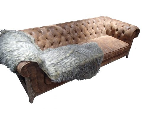 Chesterfield Pigskin and Oak Sofa