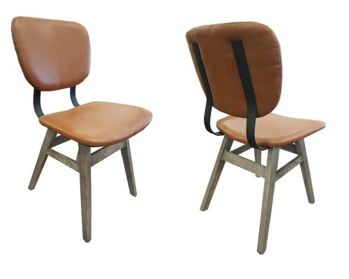 Epinal Oak Steel and Vinyl Dining Chair