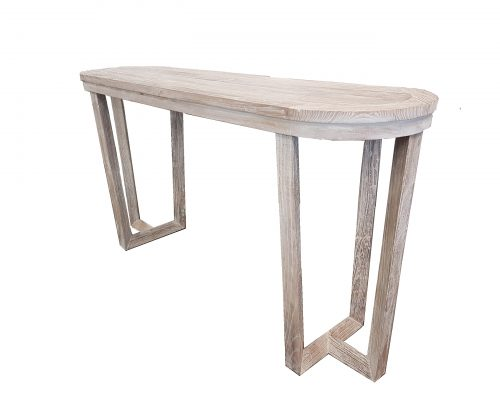 Hex Elm Oval Console