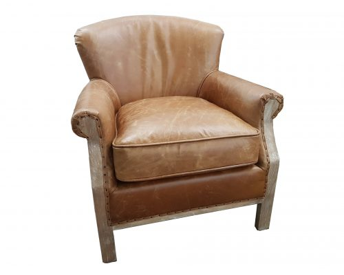 Mayfair Aged Leather and Oak Chair