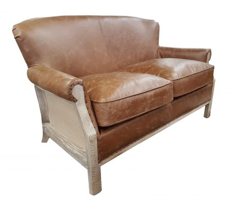 Mayfair Aged Leather and Oak Sofa