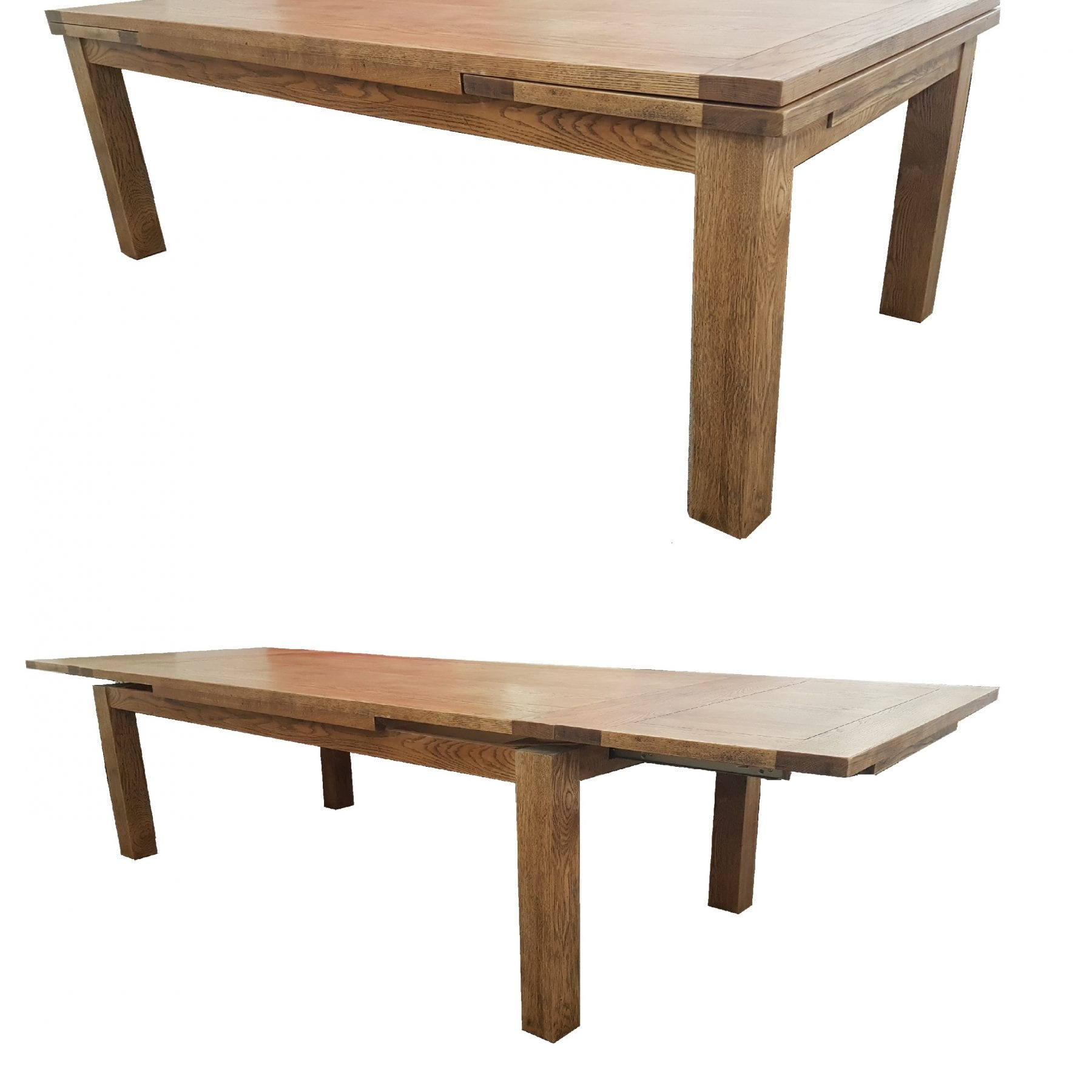 Oak Mechanical Extension Table Open and Closed
