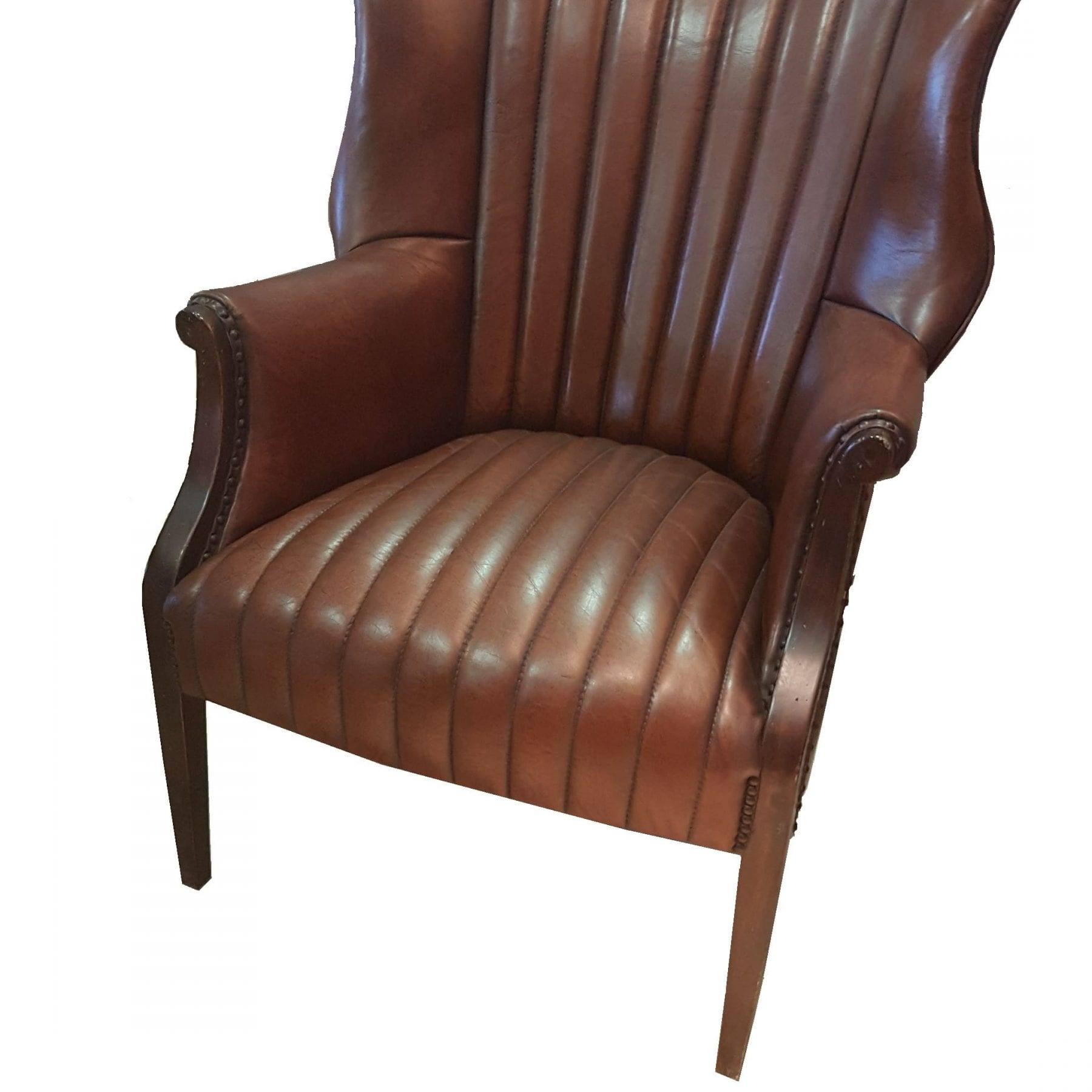 Ribbed Leather and Mahogany Wing Chair