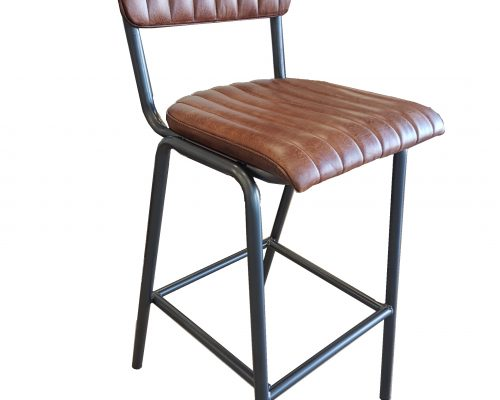 Ribbed Leather and Steel Bar Stool