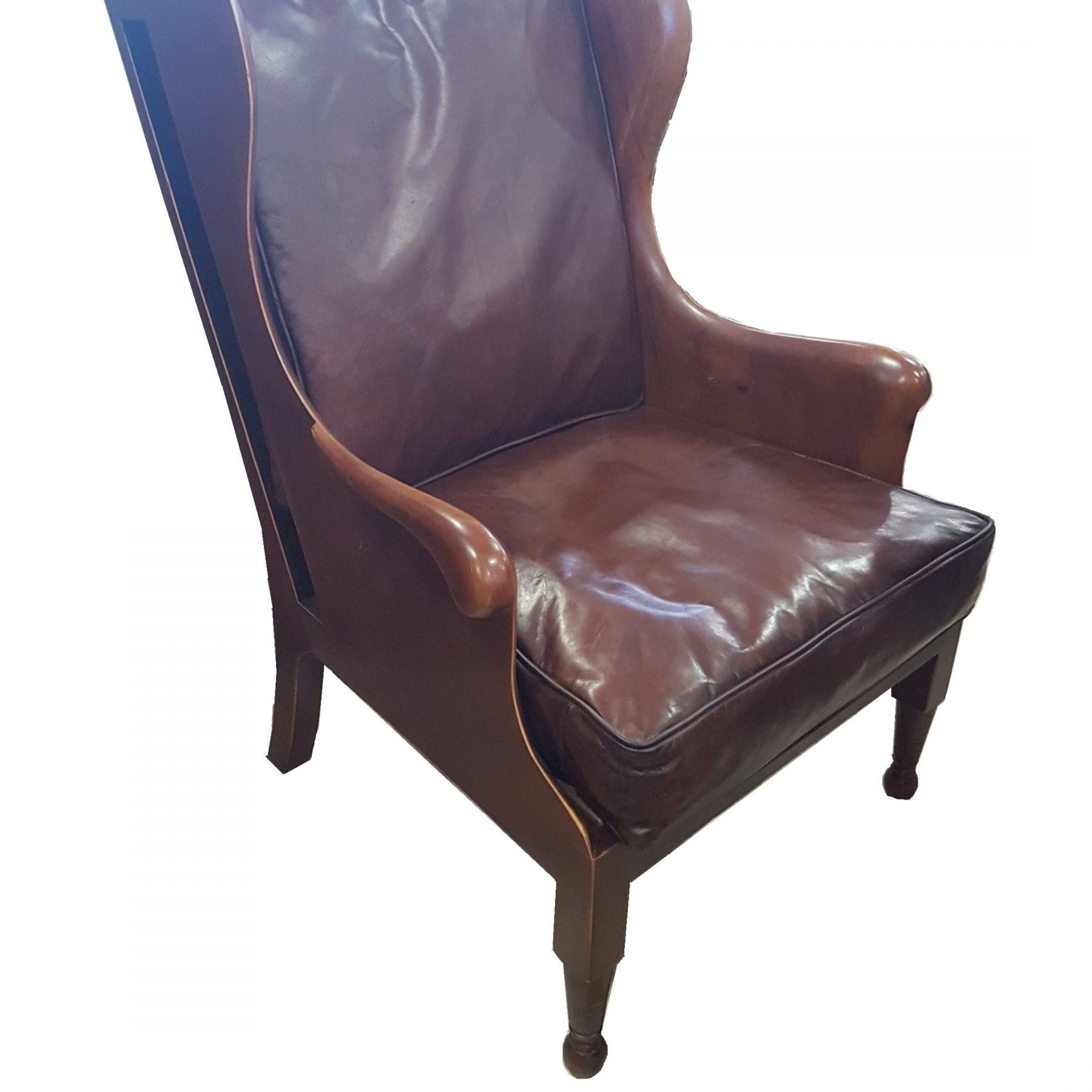 Winged Leather and Mahogany Chair